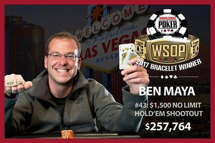 2017 WSOP: Ben Maya, Matthew Schreiber, and Christopher Brammer win bracelets