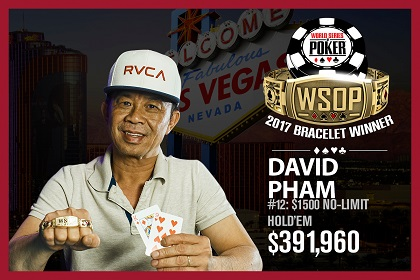 2017 WSOP: David ''The Dragon'' Pham and Frank Kassela win bracelets