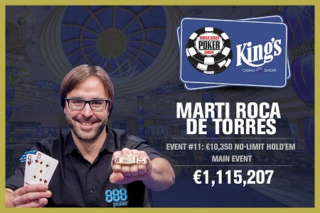 WSOP Europe: Marti Roca De Torres from Spain wins Main Event for €1.1M score