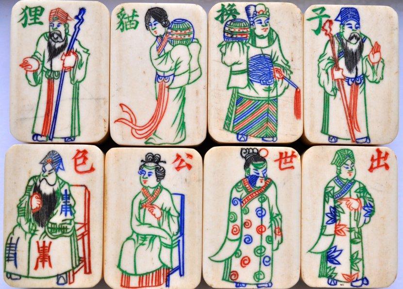 Старинные плитки Маджонг из Китая, одного из самых ранних предков для покера.
