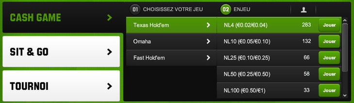 Unibet Cash Game