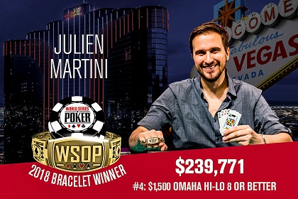 2018 WSOP: France's Julien Martini wins Omaha 8 bracelet