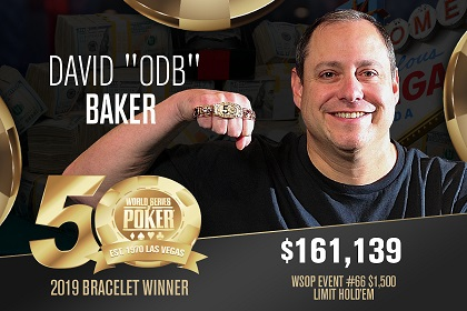 2019 WSOP: David 'ODB' Baker wins second bracelet with LHE score