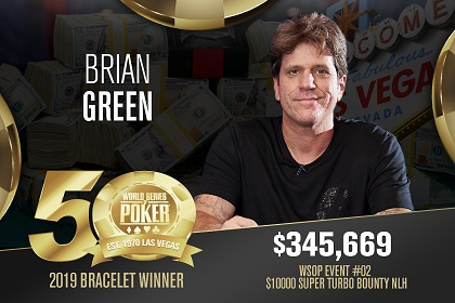 2019 WSOP: Brain Green wins first bracelet of WSOP