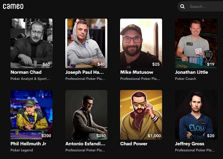Poker pros now on Cameo including Phil Hellmuth and Mike Matusow