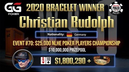 Germany's Christian Rudolph wins WSOP Online $25,000 Poker Players Championship