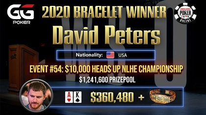 David Peters wins $10K Heads Up Championship for 2nd WSOP bracelet