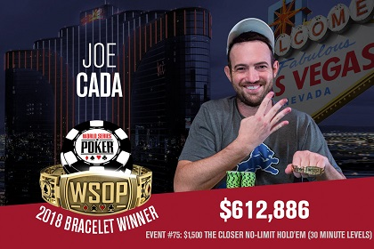 2018 WSOP: Joe Cada wins fourth bracelet with win in The Closer