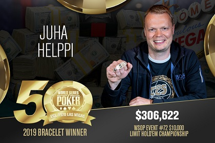 2019 WSOP: Juha Helppi wins 10K Limit bracelet, Joao Vieira wins 5K NL bling