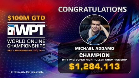 WPT Online Championships: Michael Addamo chops $100K Super High Roller for $1.28M