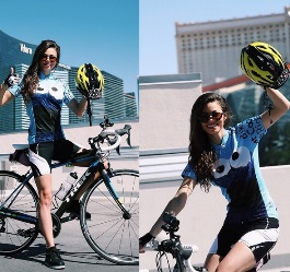 Samantha Abernathy wins $10K prop bet riding a bicycle from Las Vegas to L.A.