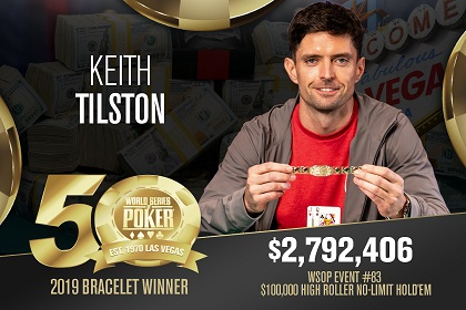 2019 WSOP: Keith Tiltson wins 100K High Roller; Negreanu 2nd