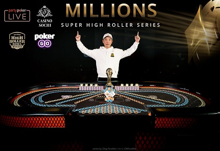 Sam Trickett, Xia He Jiang, and Wai Leong Chan ship partypoker LIVE MILLIONS Super High Roller Series Sochi events