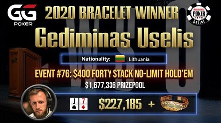 2020 WSOP Online: Gediminas 'NeverGambol' Uselis wins bracelet, Main Event Down to 38