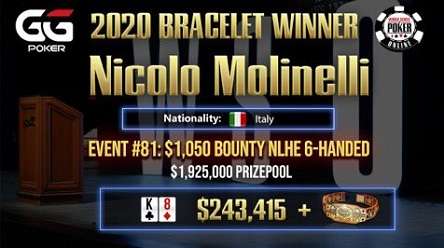 2020 WSOP Online: Jeffrey Dobrin and Nicolo 'Paquitooo' Molinelli ship People's Choice bracelets